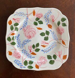 Blue-Ridge-Pottery-Plate-Vintage-Square-Floral-Decorative-Mid-Century-Deal