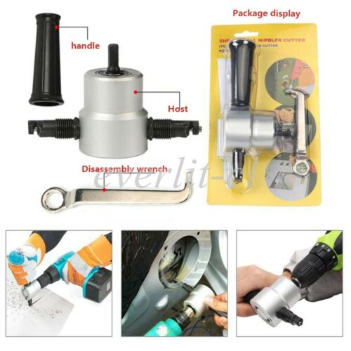 Double Head Sheet Metal Nibbler Saw Cutter Drill Attachment For Iron Steel Plate