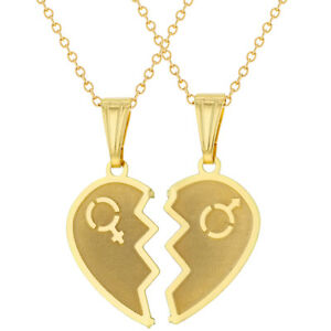 18k gold plated split heart necklace for couples pendant love 19 image is loading 18k gold plated split heart necklace for couples aloadofball Gallery