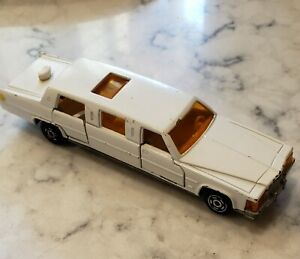 Vintage Majorette White Limousine Diecast 1/58 Car, working doors and sunroof