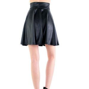 Women-High-Waist-Faux-Leather-Skater-Flare-Casual-Mini-Skirt-Above-Knee-Black-WA