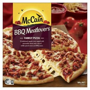 McCain Mozarella Cheese Mildly Spiced BBQ Meatlovers Whole Family Pizza 500g