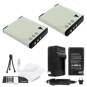D-LI68 Battery x2 + Charger for Pentax Optio S10 S12 A36 A40 Q Q10 VS20