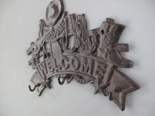 Garderobe Wand Haken Schlüsselhalter Welcome Western Look Vintage Eisen Antik