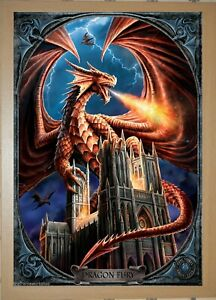 3D FANTASY PICTURE 365mm x 465mm ANNE STOKES BLACK FRAMED DRAGON FURY