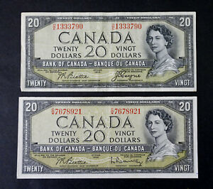 1954-Set-of-two-20-Bank-of-Canada-Banknotes-Devil-Face-amp-Modified