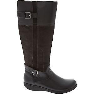 Clarks Fianna Phoenix Negro Cuero señoras de la la la rodilla botas altas talla 4 37 D  moda