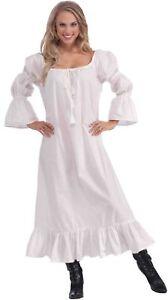 Medieval Chemise White Costume Long Dress Blouse Pirate Renaissance Women Ladies