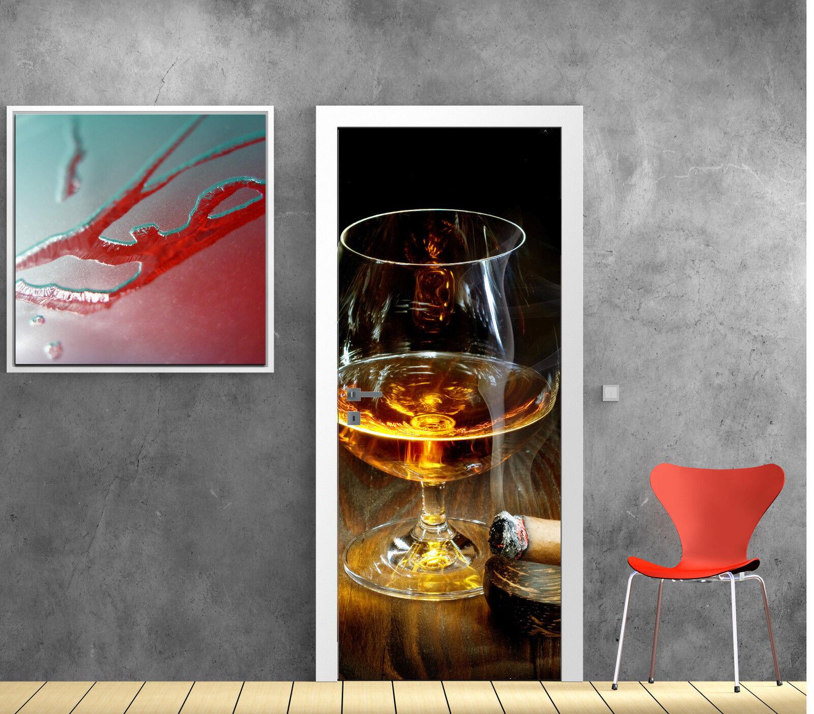 Pegatinas Puerta Trompa Trampantojo Decoración Whisky Puro Ref 823