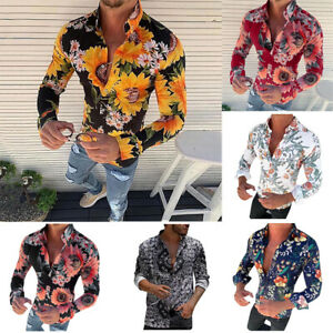 Casual-Printed-Fit-T-Shirt-Men-039-s-New-Blouse-Tops-Flower-Long-Fashion-Sleeve-Slim