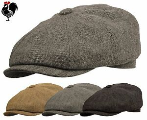 rooster wool tweed gatsby newsboy cap driving ivy flat golf hat men