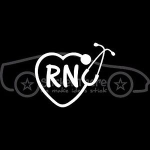 RN-STETHOSCOPE-HEART-Sticker-Nurse-Decal-Doctor-Registered-Dr-Medicine-Hospital