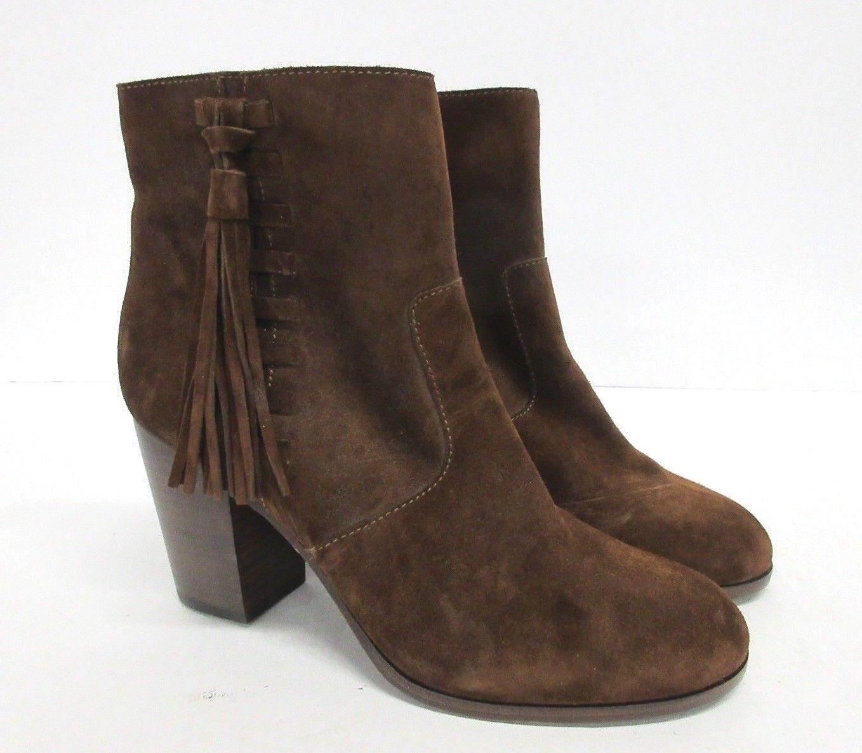 New  FRYE  Myra  Tassel Lace Suede Bootie in Brown Size  9