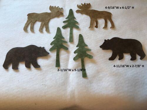 Die Cut Northwoods Bear Moose /& Tree SPX Cotton Blender Fabric Applique SET OF 7