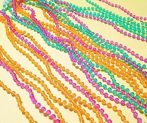 mardi-gras-Lot-of-25-Bead-Necklaces-throwing-22-034-colorful-pretty-party-clasp-NEW