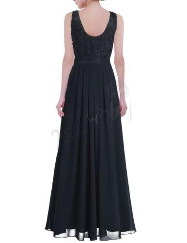 UK Women Bridesmaid Wedding Long Chiffon Dress Lace Prom Ball Gown Evening Party