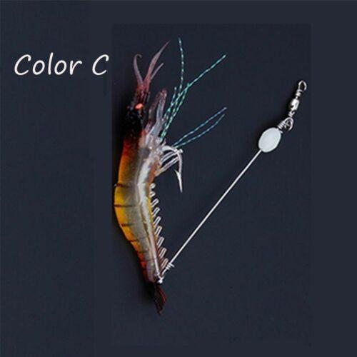 Biomimetic Soft Hook Worm Silicone Sea Fishing Prawn Lure Shrimp Fake Bait