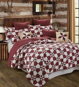 Farmhouse-Red-Eight-Point-Star-Printed-QUEEN-Quilt-Set-Primitive-Barn-Country