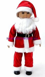 Mr-Santa-Claus-Costume-w-Beard-amp-Hat-18-in-Doll-Clothes-Fits-American-Girl