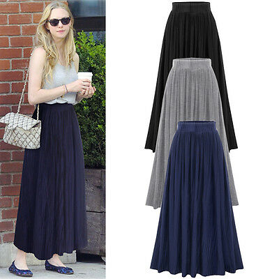 Womens Stretch Elastic High Waist Summer Pleated Flared Skirt Long Maxi Dress