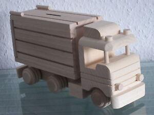 LKW Truck Spardose Holz Laster Lastwagen Auto Modellauto Holz NEU Holz