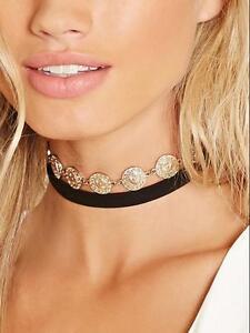 Damen-Muenzen-Halsband-Kropfband-Choker-Gothic-Collier-Samt-Kragen-Halskette-Neu