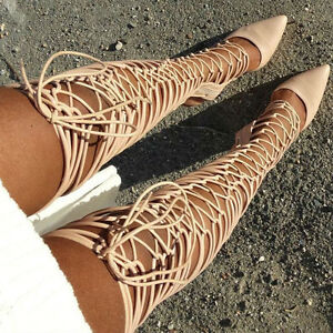 1d4b2d626059 Nude Strappy Lace Up Pointed Toe Thigh High Gladiator Bootie Heels ...
