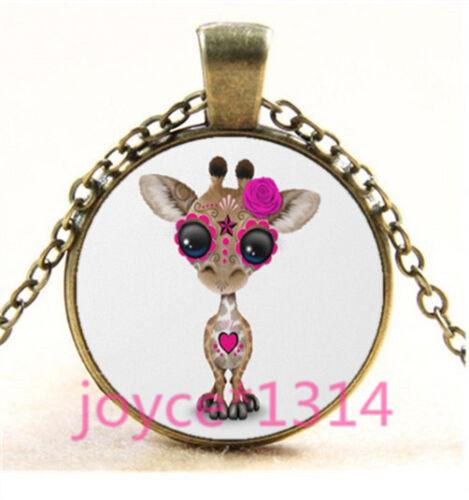 Sugar Flower Giraffe Cabochon bronze Glass Chain Pendant Necklace TS-6211