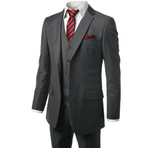 Dark Gray 3 Pieces Two Button Men Tuxedos Best Men Formal Business Wedding Suits
