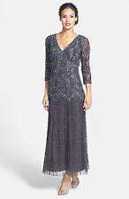 New PISARRO NIGHTS Beaded V Neck Mesh Dress Slate Gray 3/4 Sleeve Size 18 W Plus