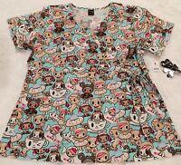 Tokidoki 2xl Koi Scrub Top Sugar High Donutella Fabric