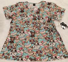 NWT TOKIDOKI 2XL Koi Scrub Top Sugar High Donutella Fabric