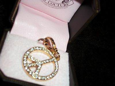 Fashion Jewelry Retired 2008 Juicy Couture 2-sided Pink/pave Peace Sign Charm Yjru2655 Box~ New Charms & Charm Bracelets