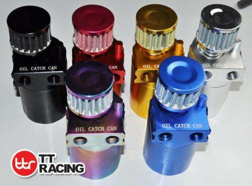TT Racing Baffled 15mm 19mm Aluminum Oil Catch Tank Can Reservoir Breather Black