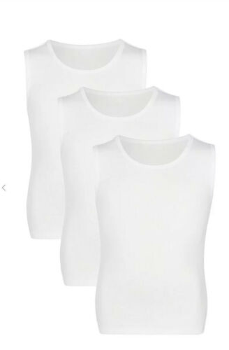 John Lewis /& Partners Boy Sleeveless T-Shirt Vest White Pack of 3
