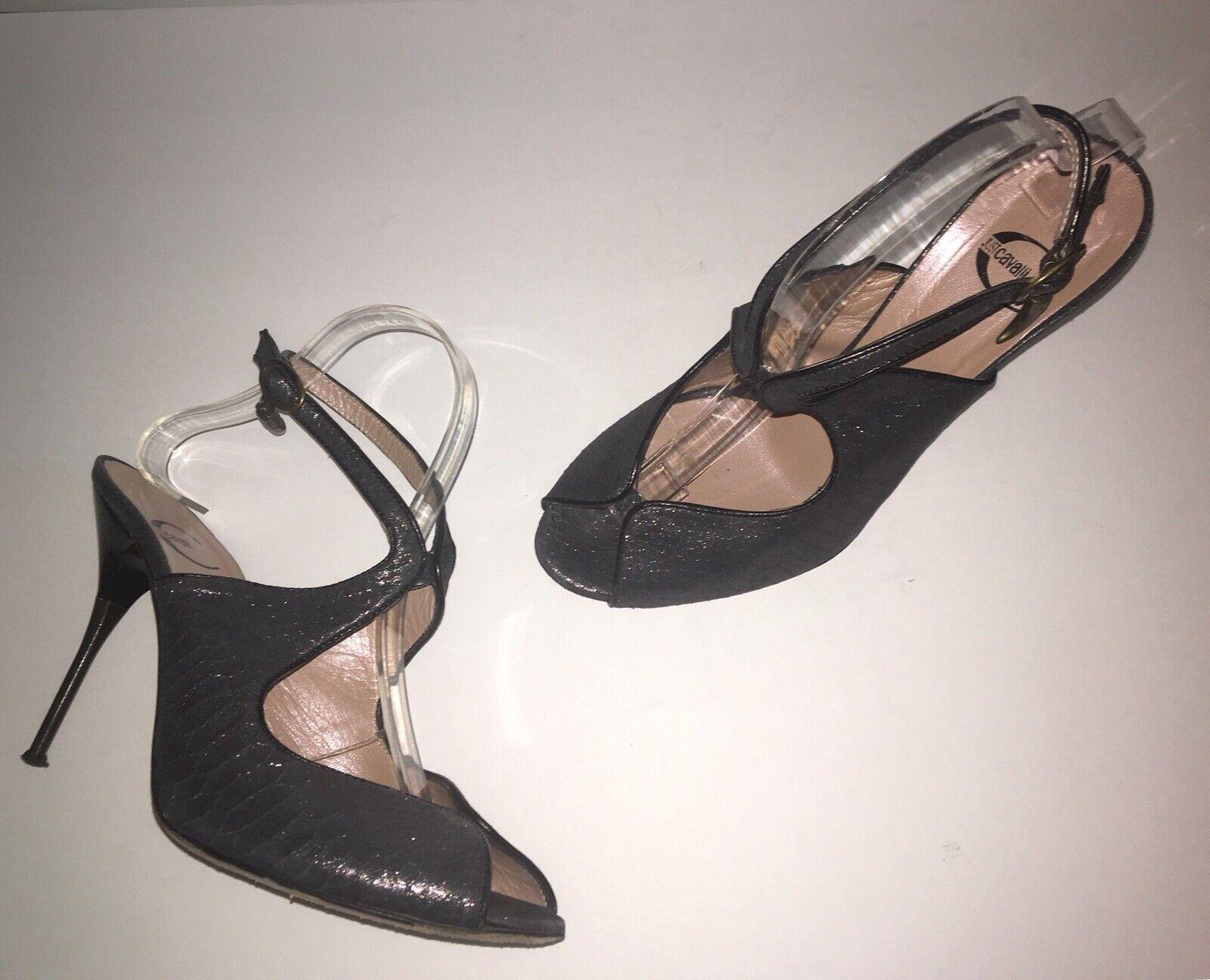 JUST CAVALLI Peep Toe Snake Emossed Logo Ankle Ankle Ankle Strap W  Metal klackar US 10 EU 40  spara 50% -75% rabatt