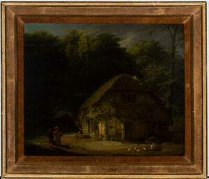 English-School-19th-Century-Oil-Figures-by-a-Cottage-in-a-Landscape