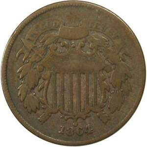 1864-Large-Motto-2c-Two-Cent-Piece-US-Coin-VG-Very-Good