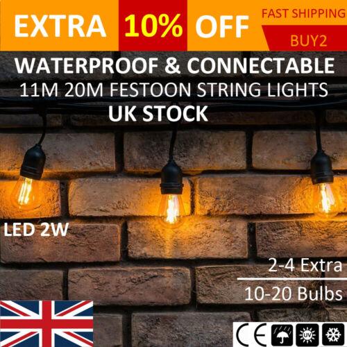 10-20PCS LED Festoon String Lights 2W Clear Bulb Garden Wedding Outdoor Lighting
