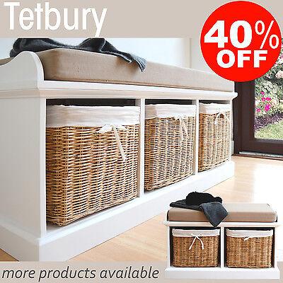 Tetbury Hallway Storage Bench With, Tetbury Furniture White Storage Bench With Brown Baskets And Cushion
