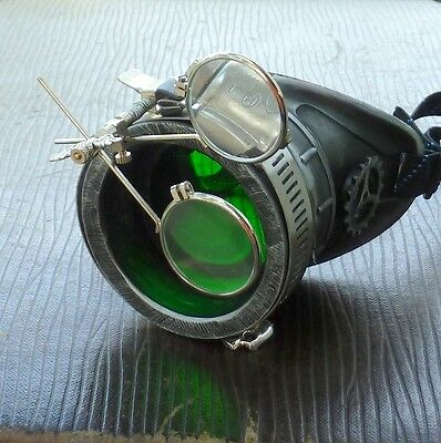 Steampunk goggles monocle eyepatch costume biker glasses green lens cyber goth