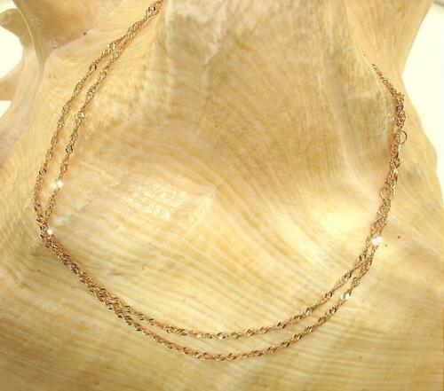 """1.3MM 14K ROSE GOLD DC SINGAPORE CHAIN NECKLACE 16/""""-24/"""" 1.0-1.5 GRAMS"""
