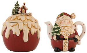 2-tlg rot creme Weihnachtsmann Teekanne und Pudding Kekse Tee Vorratsglas SET