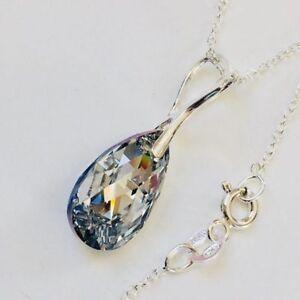 4245f85fb1f3 Detalles de Cristal de Swarovski Elementos 925 Plata Collar Colgante  Lágrima Pera Joyas Regalo- ver título original