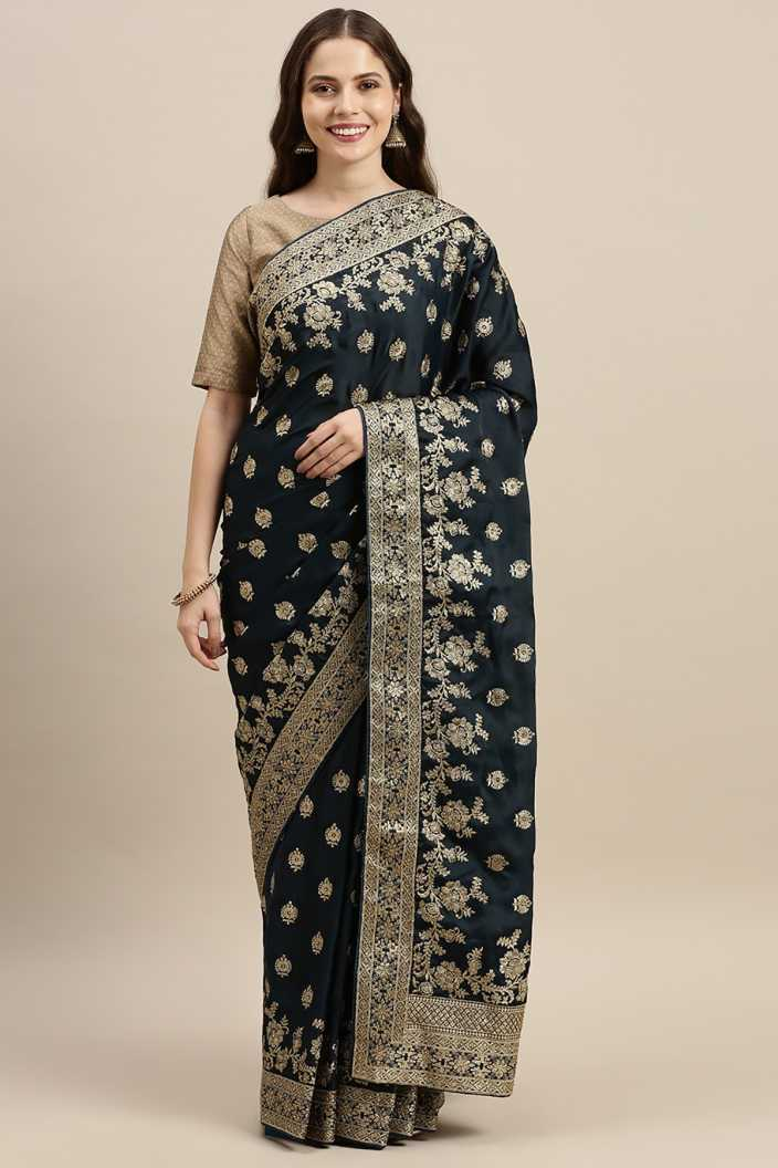 Embroidered Fashion Pure Indian Ethnic Wedding Bridal Saree & Unstiched Blouse