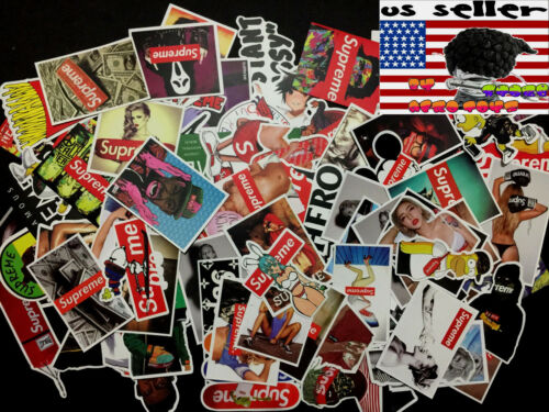 100 Supreme Skateboard Stickers bomb Vinyl Laptop Luggage Decals Sticker Lot