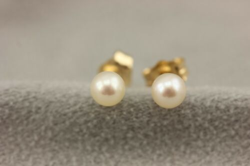 14k yellow gold 4-4.5mm white round cultured pearl stud earrings NEW