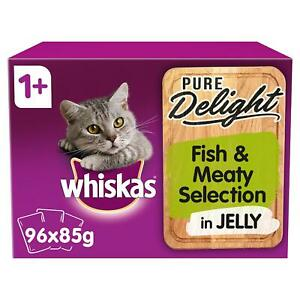 96 x 85g Whiskas Pure Delight 1+ Adult Wet Cat Food Pouches Fish & Meat in Jelly