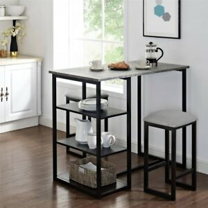 Details About Metal Dining Pub Set Of 3 Indoor Modern Rectangular Table Square Stools Seats
