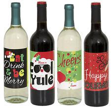 Festive Natale Bottiglia di Vino Etichette confezione da 4 Adesivi Decorazione Festa